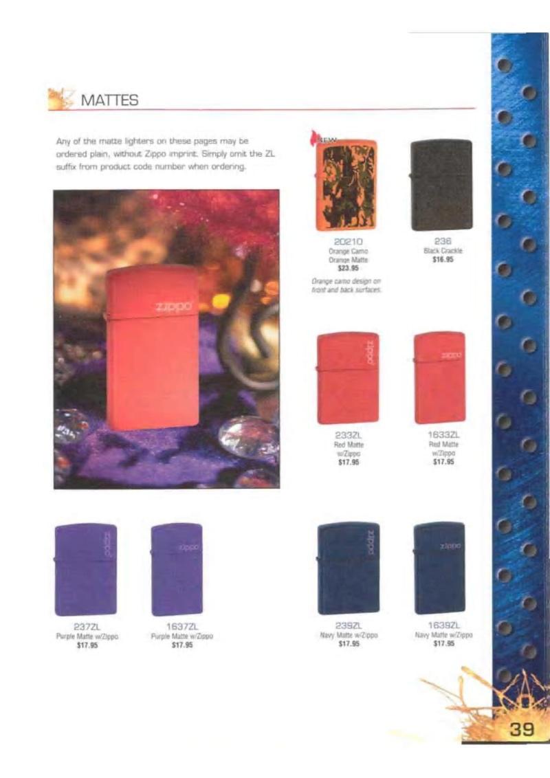 Catalogue ZIPPO 2003 Complete line (version américaine) 3913