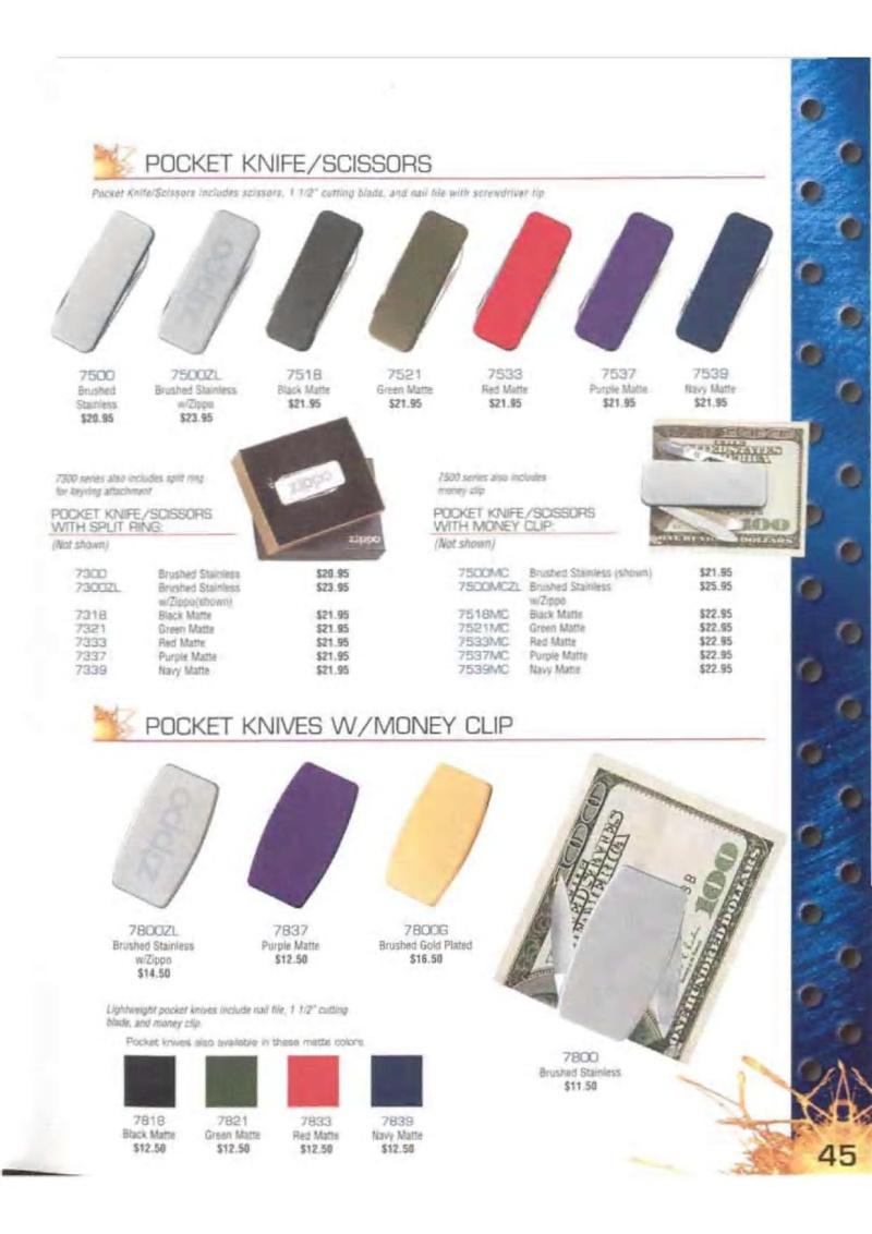 Catalogue ZIPPO 2003 Complete line (version américaine) 4513