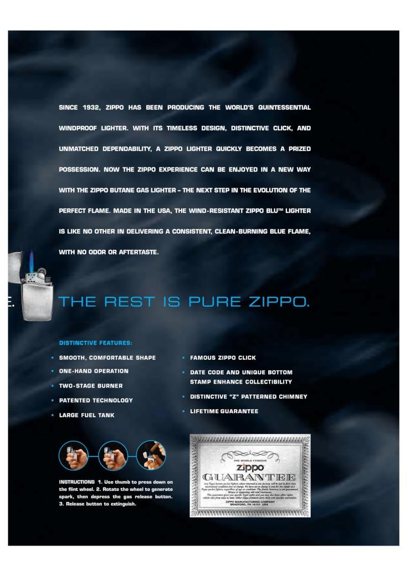 2007 ZippoBLU Butane Gas Lighter Catalog 517