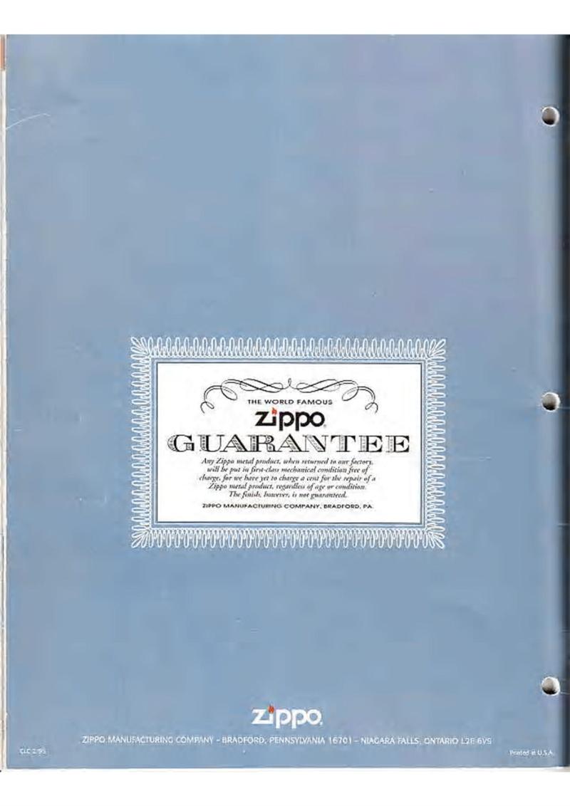 Catalogue ZIPPO Collection 1995 (version américaine) 5510