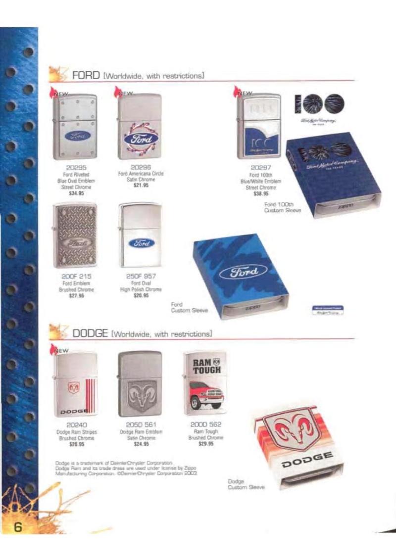 Catalogue ZIPPO 2003 Complete line (version américaine) 623