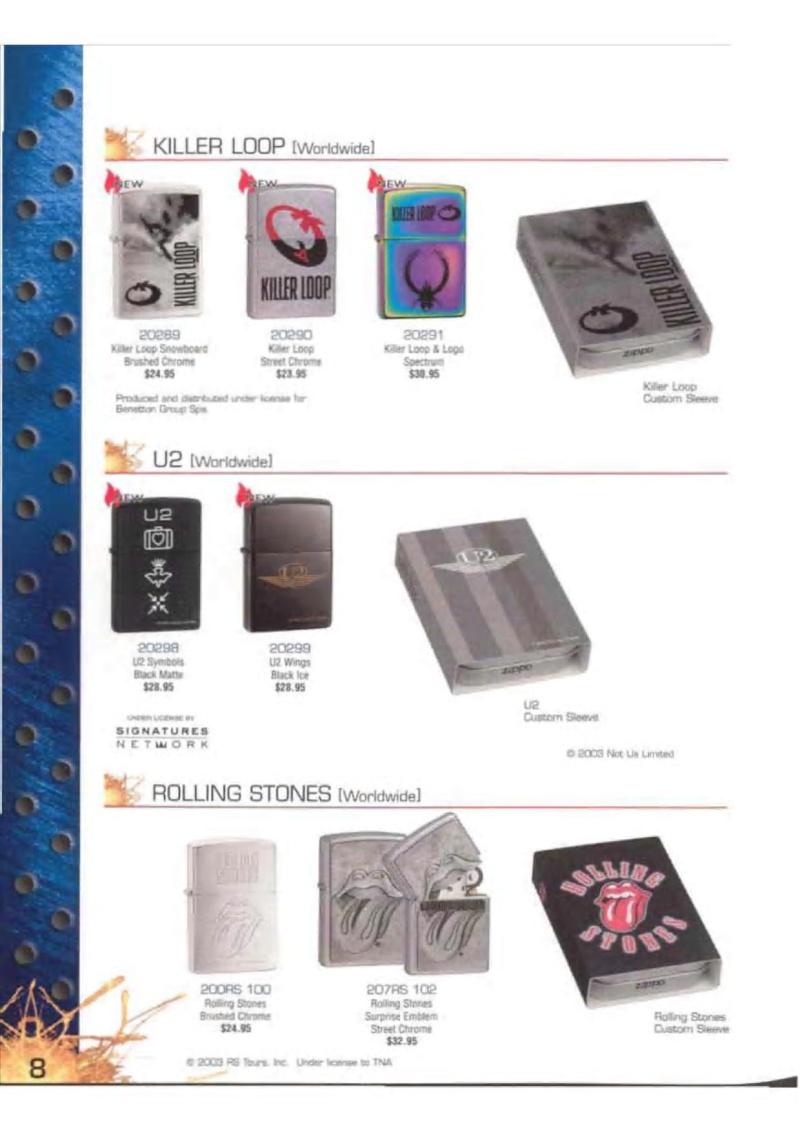 Catalogue ZIPPO 2003 Complete line (version américaine) 824