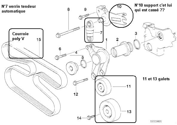 [BMW 525 tds E39] Rupture du support de galet tendeur 4_m51_11