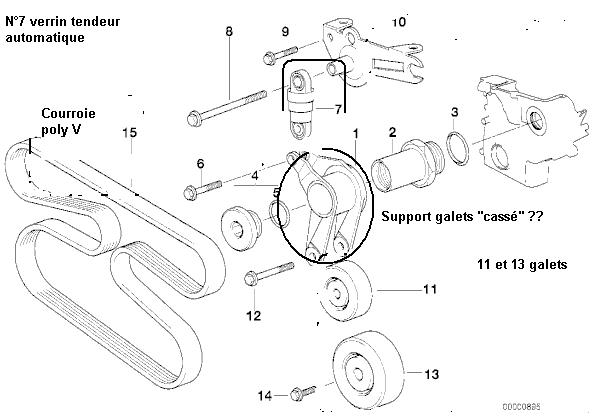 [BMW 525 tds E39] Rupture du support de galet tendeur 4_m51_12