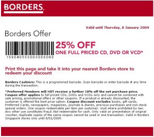 Borders Singapore January Coupons Border10