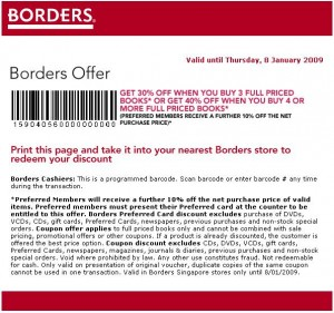 Borders Singapore January Coupons Border11