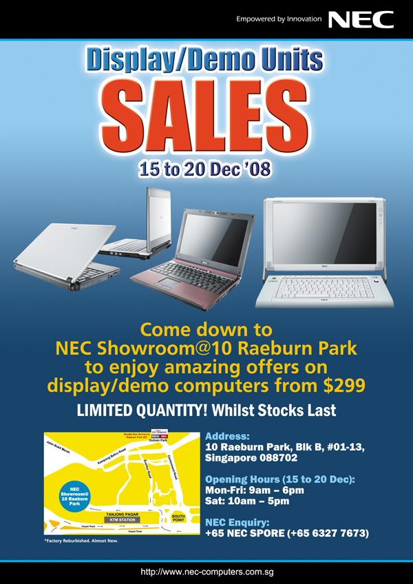 NEC Laptops Display / Demo Units sales from 15 - 20 Dec 08 Demosa10
