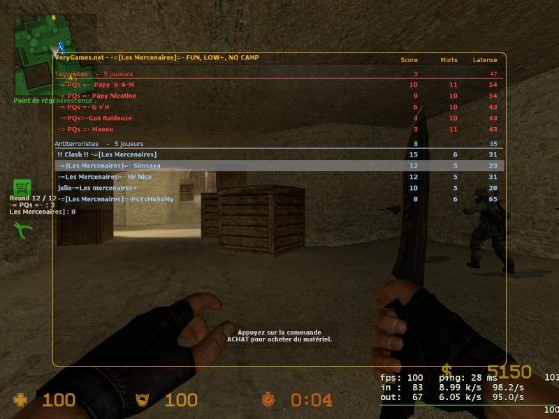 Resultats WAR -[=QS =- Vs -=[Les Mercenaires]=- Match112