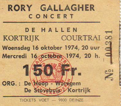 Tickets de concerts/Affiches/Programmes Rory_t10