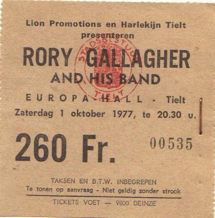 Tickets de concerts/Affiches/Programmes Rory_t12