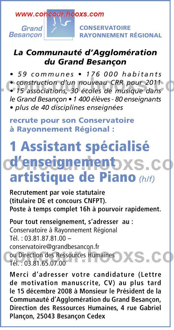 Assistant spéc. d'enseignement artistique (H 0154