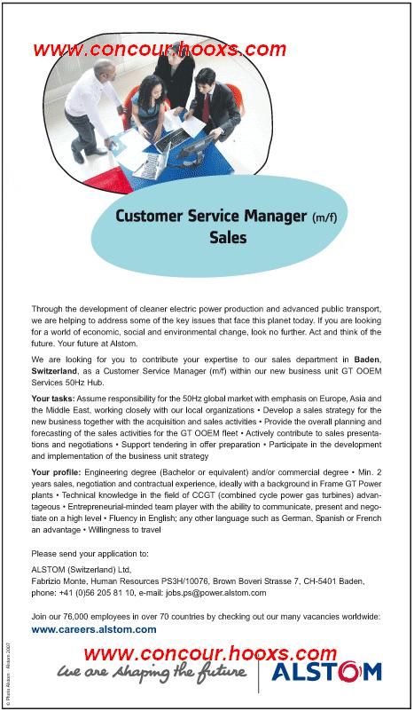 Customer Service Manager sales (H/F) 0322