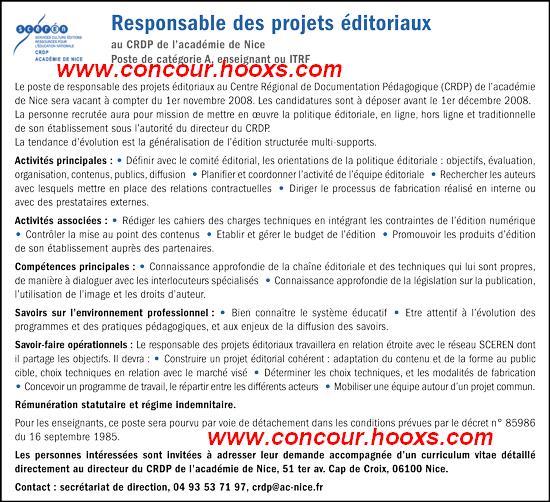 Responsable des projets éditoriaux (H/F) 0323