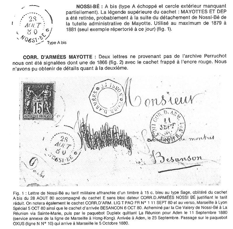 """Nossi-Bé cachet de 1880 sans """"Mayotte"""" Mnbdp110"""