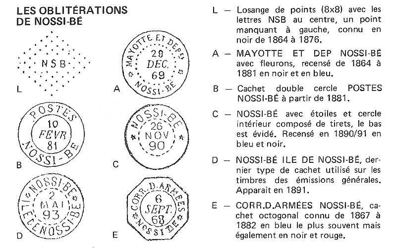 """Nossi-Bé cachet de 1880 sans """"Mayotte"""" Mnbdp111"""