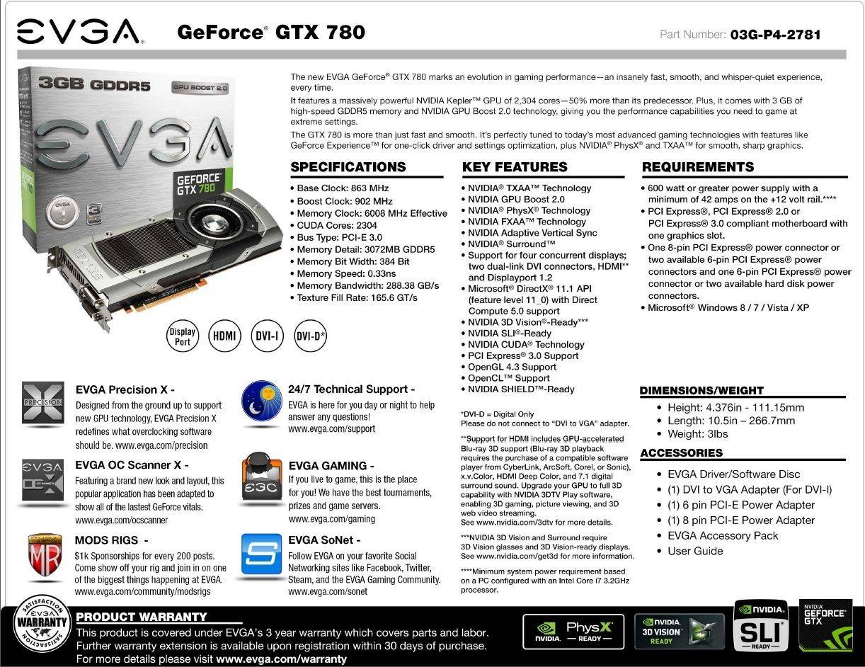 FS/FT- EVGA GeForce GTX 780 3GB Reference Card Evgagt10