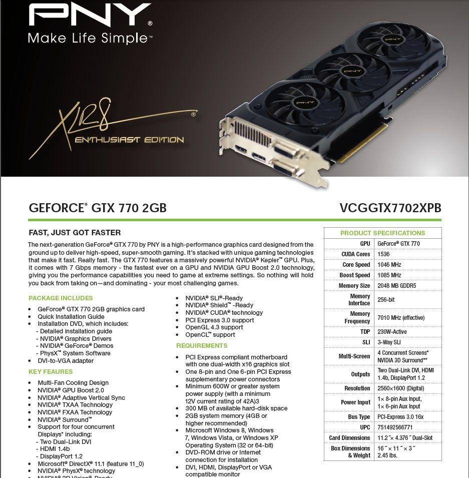 FS/FT-  PNY GTX 770 2GB 1080MHz Pny10