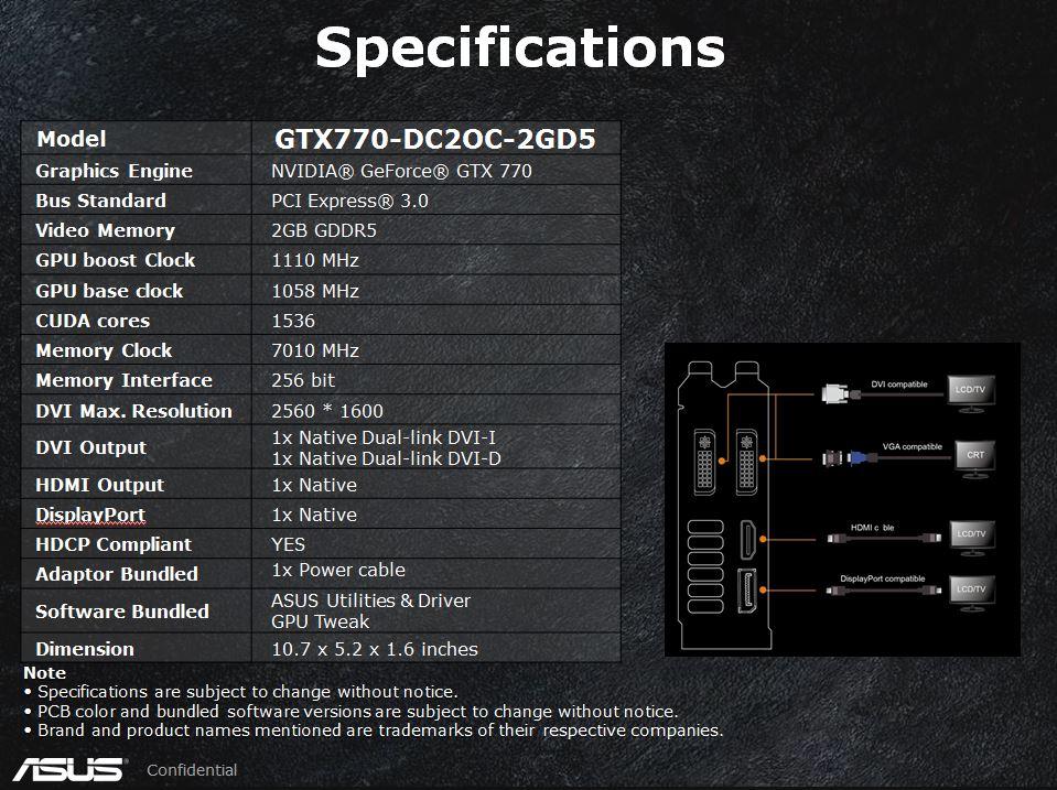 FS- Asus GTX GTX 770 2GB DirectCU ii OC 1110Mhz Specs10