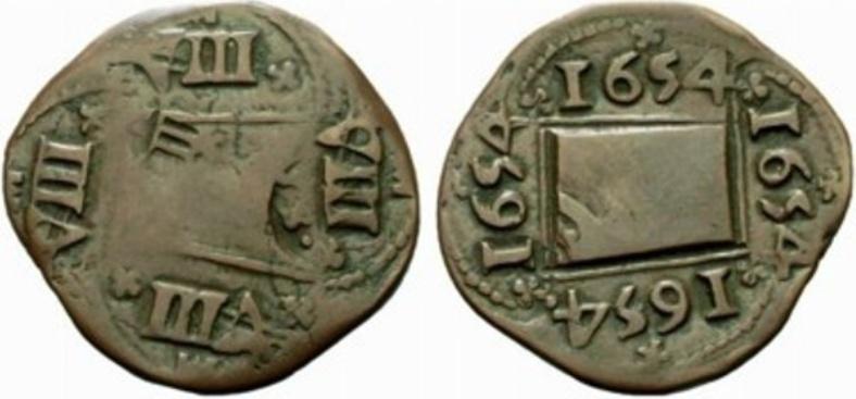 Prueba del punzon del resello a IIII maravedis de 1655  C10