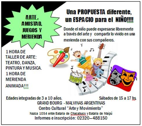"""Malvinas Argentinas: taller """" Arte y Meriendas"""", en Arte & Movimiento. Aviso_10"""