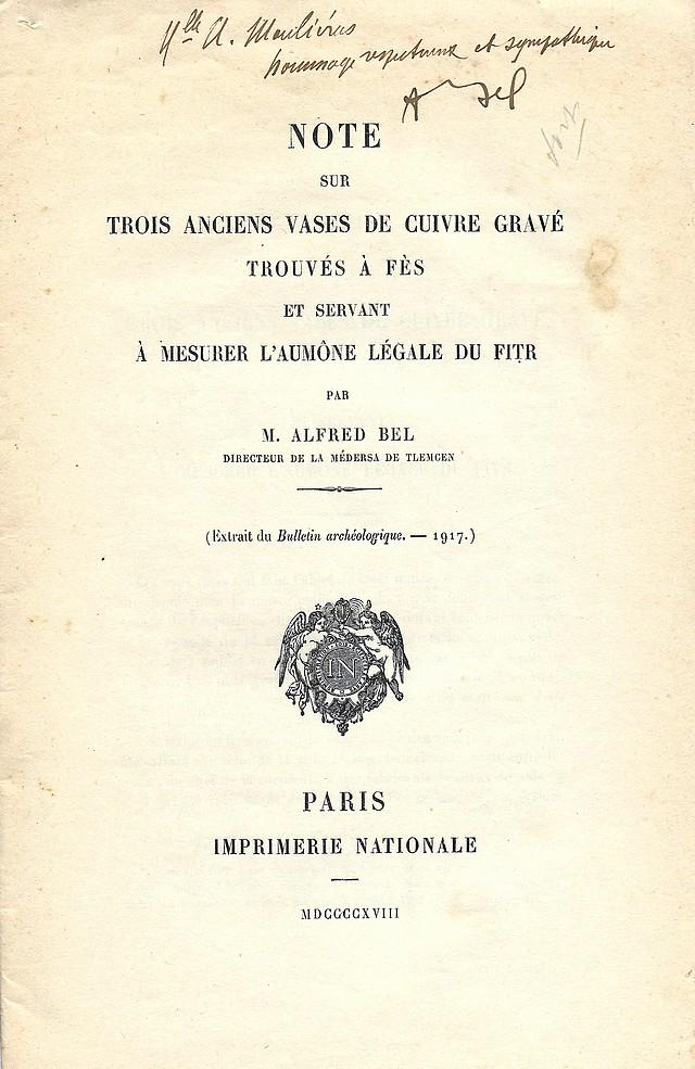 Alfred BEL : Note sur trois anciens vases de cuivre gravé trouvés à Fès et servant à mesurer l'aumône légale du fitr. Scan_b11