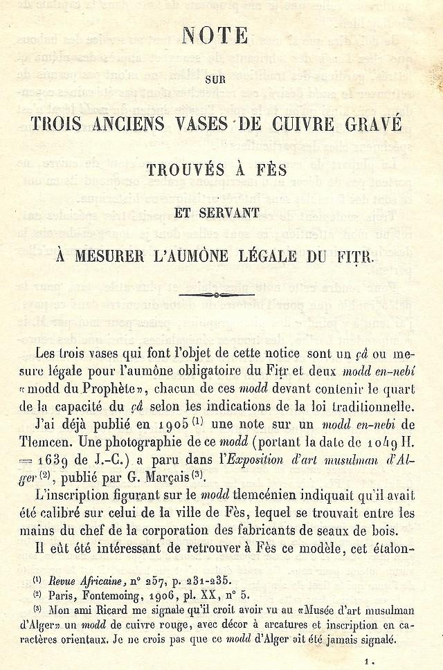 Alfred BEL : Note sur trois anciens vases de cuivre gravé trouvés à Fès et servant à mesurer l'aumône légale du fitr. Scan_b13