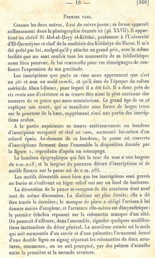 Alfred BEL : Note sur trois anciens vases de cuivre gravé trouvés à Fès et servant à mesurer l'aumône légale du fitr. Scan_b26
