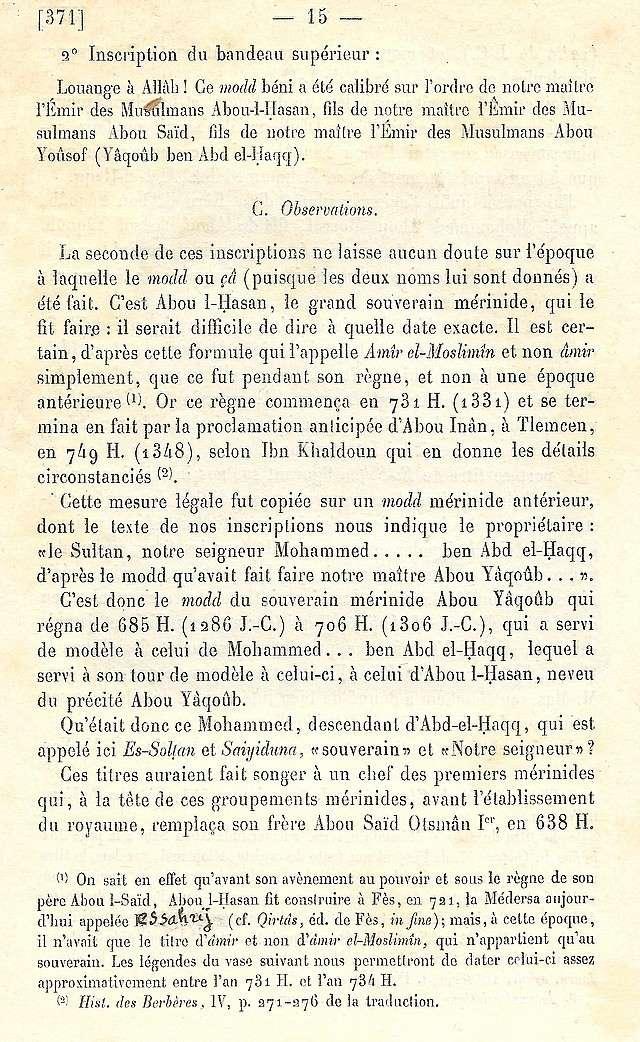 Alfred BEL : Note sur trois anciens vases de cuivre gravé trouvés à Fès et servant à mesurer l'aumône légale du fitr. Scan_b34