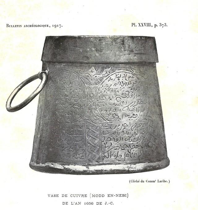 Alfred BEL : Note sur trois anciens vases de cuivre gravé trouvés à Fès et servant à mesurer l'aumône légale du fitr. Scan_b36