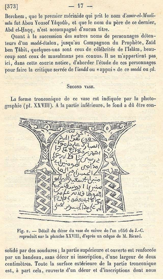 Alfred BEL : Note sur trois anciens vases de cuivre gravé trouvés à Fès et servant à mesurer l'aumône légale du fitr. Scan_b37