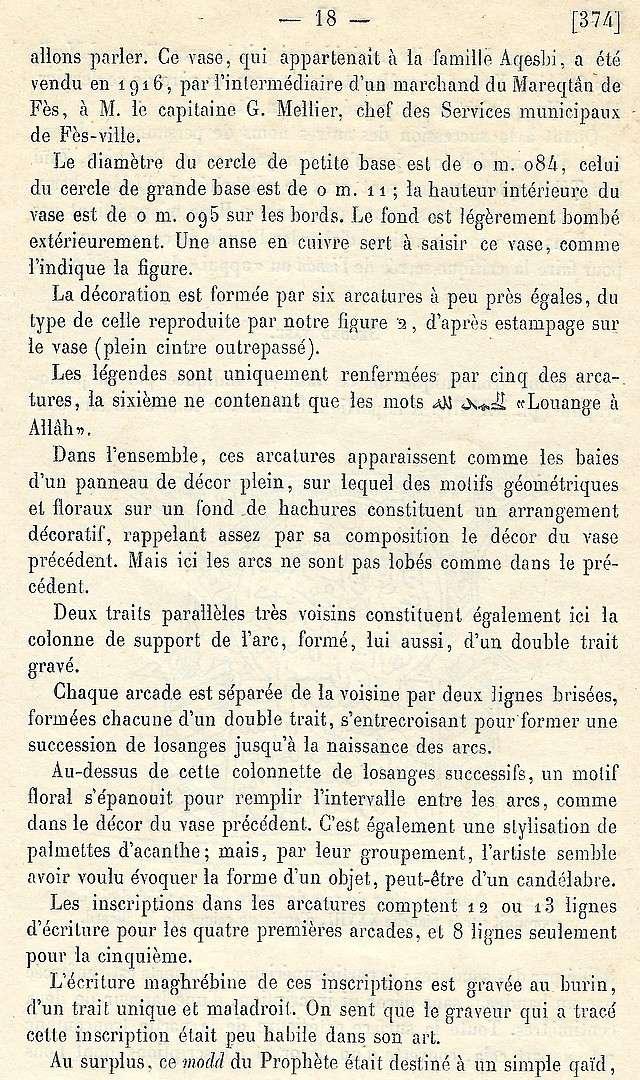 Alfred BEL : Note sur trois anciens vases de cuivre gravé trouvés à Fès et servant à mesurer l'aumône légale du fitr. Scan_b38