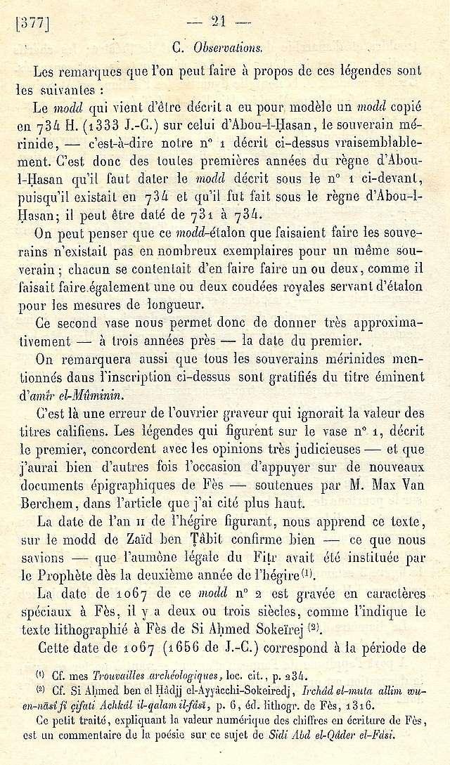 Alfred BEL : Note sur trois anciens vases de cuivre gravé trouvés à Fès et servant à mesurer l'aumône légale du fitr. Scan_b41