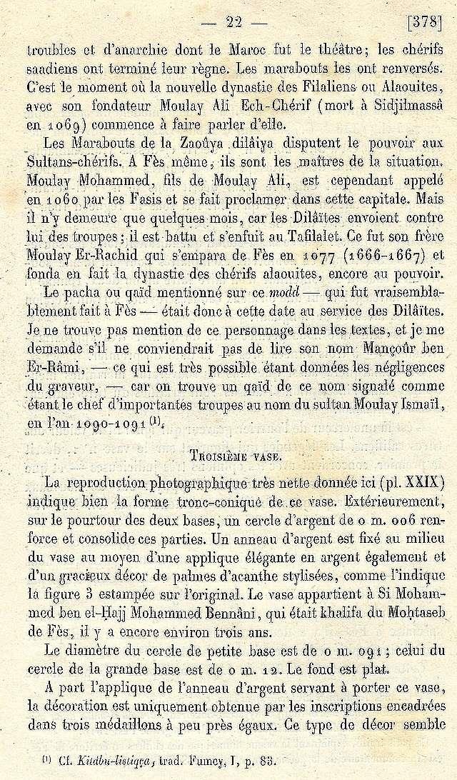 Alfred BEL : Note sur trois anciens vases de cuivre gravé trouvés à Fès et servant à mesurer l'aumône légale du fitr. Scan_b42
