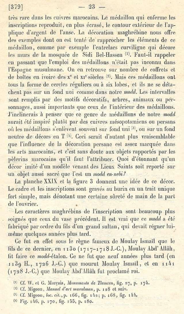 Alfred BEL : Note sur trois anciens vases de cuivre gravé trouvés à Fès et servant à mesurer l'aumône légale du fitr. Scan_b44