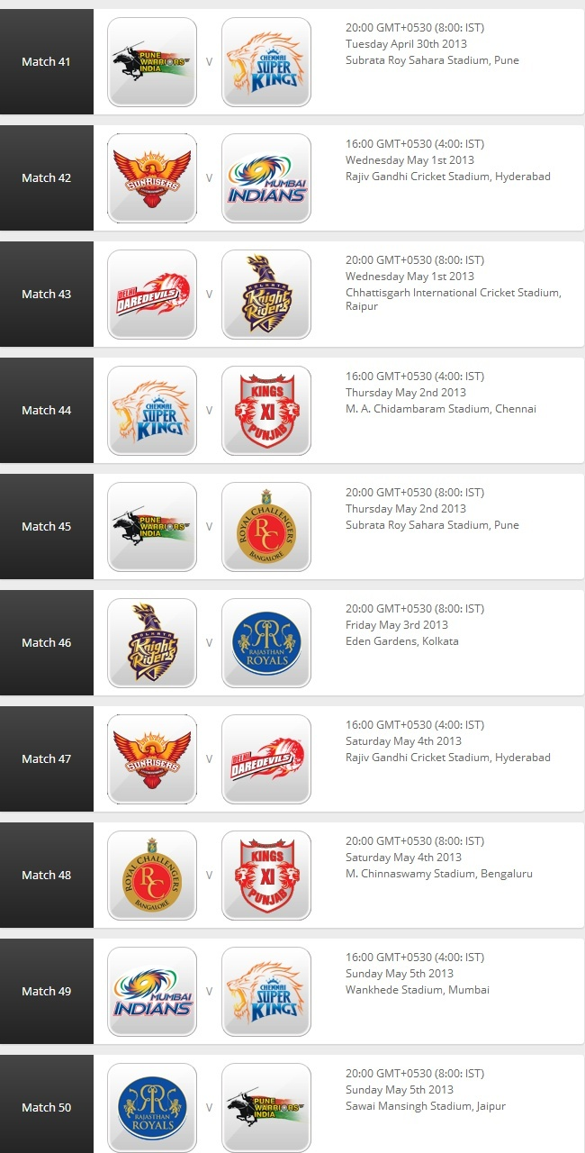 IPL 2013: Match Schedule 510
