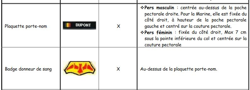 Les insignes portés sur les tenues Donneu10