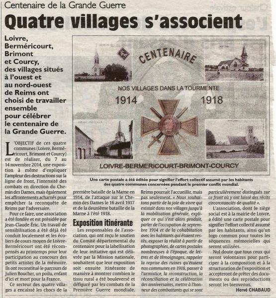 Centenaire de la Grande Guerre, 4 villages s'associent Centen10