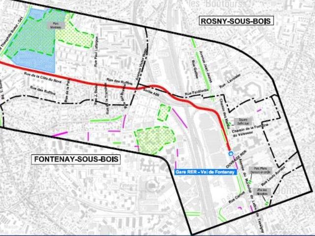 """Pour une liaison mécanisée entre les quais de la RATP et de la SNCF à la Gare Val de Fontenay, pour une liaison enterrée entre l'A86 et l'A4 au lieu-dit """"Le Pont de Nogent"""" Tram10"""