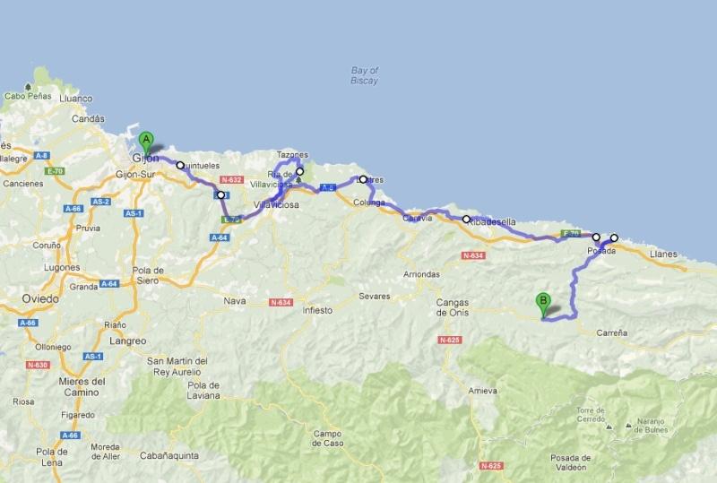 L'Espagne de Gijon à Jaca - du 1er au 8 Avril 2012 Trajet11