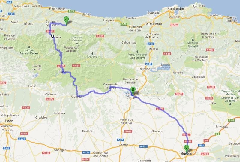 L'Espagne de Gijon à Jaca - du 1er au 8 Avril 2012 Trajet12