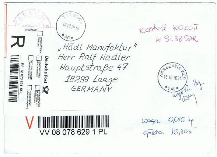 Reco-Aufkleber der Deutschen Post Polen_10