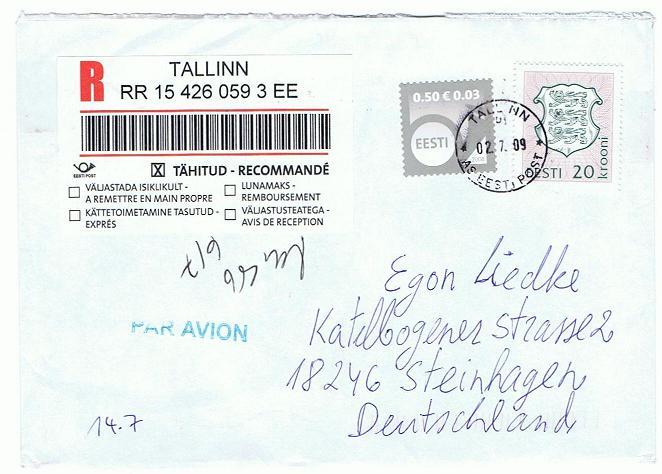 Reco-Aufkleber der Deutschen Post Tallin10