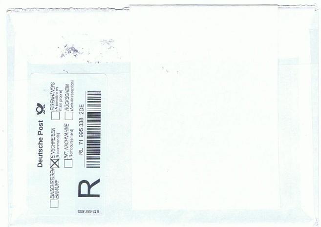 Reco-Aufkleber der Deutschen Post Tallin11