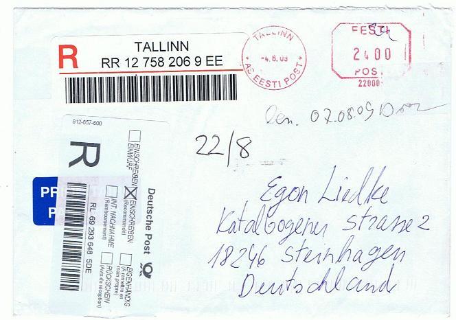 Reco-Aufkleber der Deutschen Post Tallin12