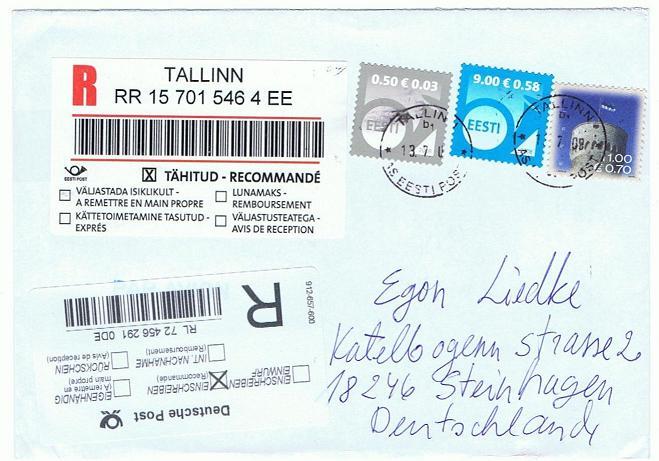 Reco-Aufkleber der Deutschen Post Tallin13