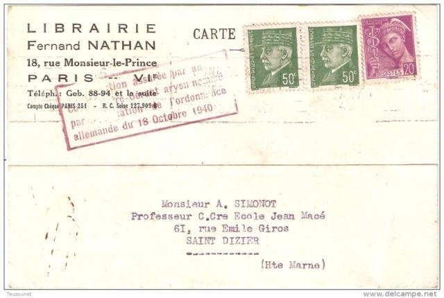 Edition Nathan : « Direction assurée par un Commissaire-Gérant aryen nommé par application de l'ordonnance allemande du 18 octobre 1940  »   517_0011