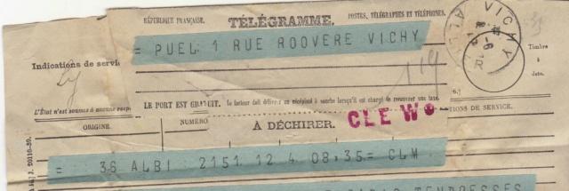 """Télégramme officiel de janvier 1945 avec cachet linéaire """"CLE CF 2/8"""" Tzolzo10"""