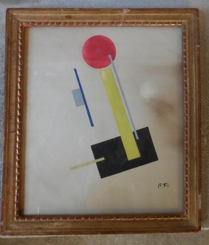 aquarelle  monogrammée   suprématisme,constructivisme  début xx Dscn0928