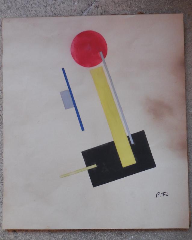 aquarelle  monogrammée   suprématisme,constructivisme  début xx Dscn0931