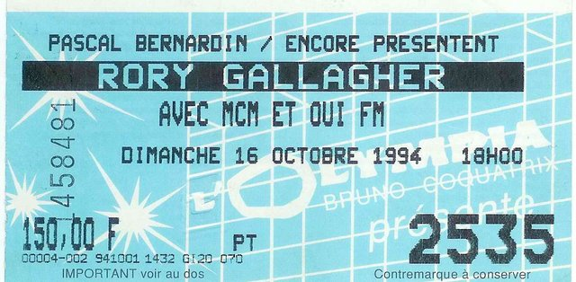 Photo de Patrick Guillemin - Olympia - Paris (France) - 16 octobre 1994 Billet10